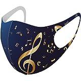デザイン マスク 2枚セット ポリエステル 洗える 布マスク 男女兼用 003384 その他 クール ユニーク 音楽 音符 青