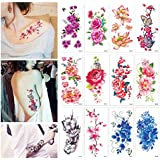 Flower Temporary Tattoos Stickers Lotus Cherry Blossoms Tattoo Pack of 12 Sheets