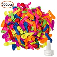 YHMALL 500 Pack Water Balloons with Refill Kits Colorful Latex Water Bomb Balloons Fight Games - Summer Water Party Pool and Splash Fun for Kids & Adults 【You&Me】 [並行輸入品]