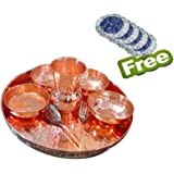 AsiaCraft Indian Dinnerware Pure Copper Traditional Dinner Set of Thali Plate, Bowls, Glass and Spoon, Diameter 13 Inch - Diw