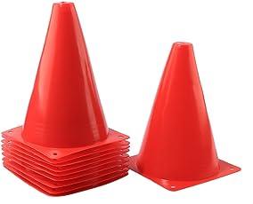 PETFORU マーカーコーン 18センチ 10個セット 道路コーン フィールドマーカー フットサル サッカー バスケットボール 円錐 子供 スポーツ 多機能 小型 ― レッド