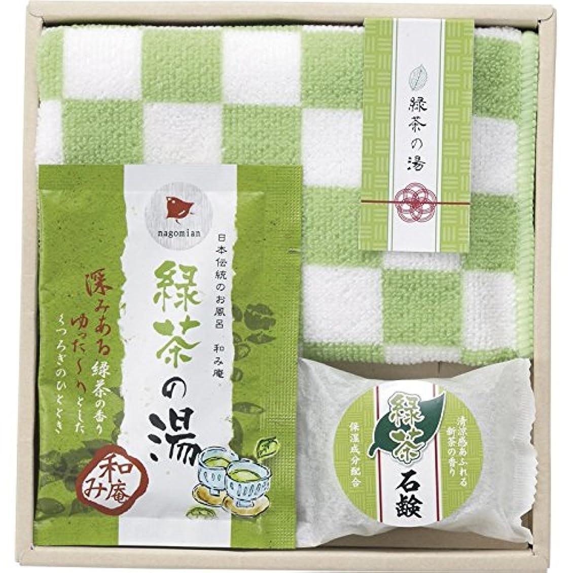 フライト感謝する形状緑茶の湯入浴セット53 334-53 【洗面所 入浴剤 さくら タオル 石鹸 リラックス おふろ バスグッズ】