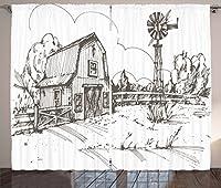 """風車装飾カーテンby Ambesonne、素朴な納屋ファームハウスHand Drawn Illustration Countryside Rural Meadow、リビングルームベッドルームウィンドウドレープ2パネルセットホワイト、ダークブラウン 108"""" W By 63"""" L p_39358_108x63"""