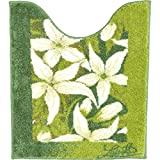 GRUND トイレマット 北欧 70×60cm 洗える シャギーラグ トイレタリー jasmin 花柄 グリーン ホワイト 緑 北欧直輸入