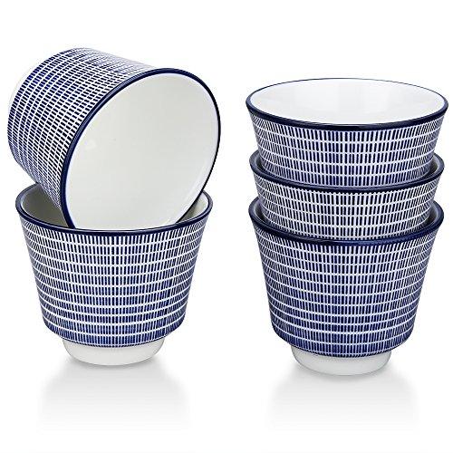 Yinghaitai(インハイタイ);湯呑 カップ 日本茶湯呑 寿司湯呑 和食器 洋食器 北欧風食器[高さ6.9cm](湯呑×5個、青縞)