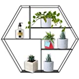 AU-Border Wall-Mounted Hexagonal Wall Frame Metal Iron Bar Table Living Room LOFT Cube Bookshelf Bedroom Bookshelf Storage Sh
