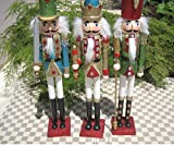 38cm tall bling bling nutcrackers for christmas decor 1 セット 3つ 高さ38cm ,手作り木製の装飾品 くるみ割り人形、装飾品、兵士のくるみ割り人形クリスマス ギフト誕生日プレゼント