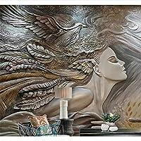 Ljjlm カスタム壁紙ホーム装飾壁画クリエイティブ救済美容孔雀テレビソファの背景壁の壁画3D Wallpaper-120X100CM