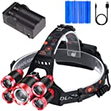 Zingiber 5 LED Rechargeable Headlamp, 18000 Lumen Headlight, 100% Waterproof, 90° Adjustable Flashlight, Perfect Head Light f