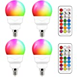 E12 LED Light Bulbs (40w Equivalent) 5W, Color Changing RGB, Small Base Candelabra Round Light Bulb, A15 Candle Base, 5700K W