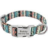 Customized Printed Pet Collar Nylon Dog Collar Personalized Free Engraved Puppy ID Name Collar for Small, Medium, Large Dogs
