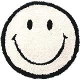ACCENT チェアパッド 座布団 35cm 【アイボリー】ふわふわ 椅子 円形 丸型 かわいいスマイルクッション 洗濯可 オールシーズン対応 国内メーカー