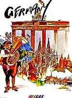 ドイツ飛行機ヨーロッパヴィンテージドイツヨーロッパ旅行広告アートポスター