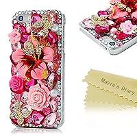 Mavis's Diary iPhone5/5s ピンク 花 ケース ダイヤモンド ラインストーン PC素材 透明 クリア 衝撃吸収 超軽量【クリーニングクロス付き】(hz0785)