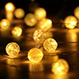 HuTools Christmas Globe String Lights Crystal Crackle Ball Lights 10FT 30 LED Warm White Battery Operated Decorative Fairy St