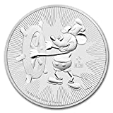 31.1グラム 純銀 ミッキーマウス 蒸気船 ウィリー ディズニー $2ドル ニウエ 1オンス 銀貨 インゴット 高純度 .999 銀 カプセル クリアーケース付き (¥ 3,999)