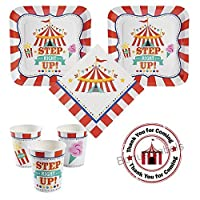 Carnival Birthday Party Pack for 16 guests, dinner plates, napkins, cups, labels [並行輸入品]