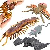 Halloween ToysJoke Tricks 9 Inch Rubber Spider Bat Mouse Centipede Toy SetFood Grade Material TPR Super StretchyValeforToy Ha