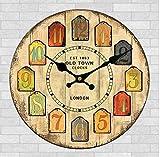 レトロ 壁掛け時計 アンティーク 風 時計 木目 調 北欧 風 アナログ 静音 インテリア 雑貨