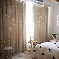 姫系 カーテン 遮光 グラデーション 二重カーテン 一体型カーテン 遮光率90% アジャスターフック付き 1.5倍ヒダ…
