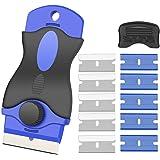 Kingsdun スクレーパー ガラススクレーパー ポケットスクレーパー ステンレスブレード プラスチック刃 安全スクレーパー ガラス汚れ落とし 壁面の付着物のかき落とし 替刃付10個 ステッカー/シール/ラベル/接着剤剥がし