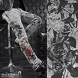 (ブラックバリア) BLACK VARIA スキニーデニム 薔薇柄 花 ケミカルウォッシュ メンズ ジーパン ストレッチ ボトムス パンツ グレーブラック zkt006 31