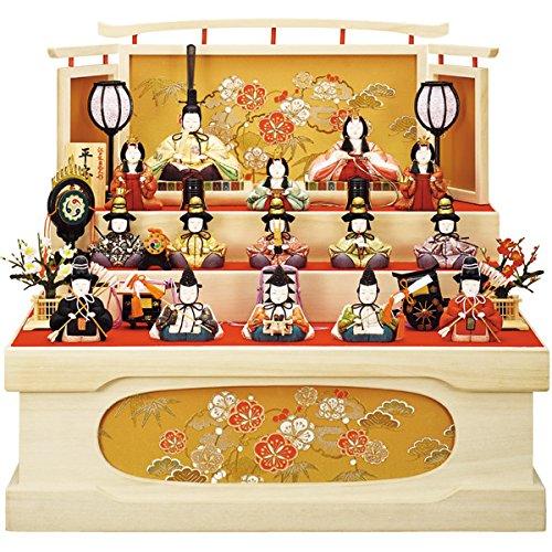 【数量限定】 雛人形 【16H264】 収納三段飾り 十五人...