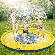 Gogowin 噴水マット 噴水プール ビーチマット ビニールプール 水遊び 噴水 おもちゃ 子供用 プレイマット 夏の日 芝生遊び 庭 イエロー