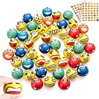 48Pcs Emoji Balls, Emoji Stress Reliver Squeeze Foam Face Balls, Fun Party Favour Office Toy Balls for Holiday Birthday Kids, Therapy Gift with 4 Sheets Emoji Stickers