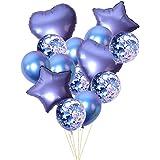 青の紙吹雪 ラテックス 風船 金属箔バルーン 誕生日パーティーの装飾 14個/パック