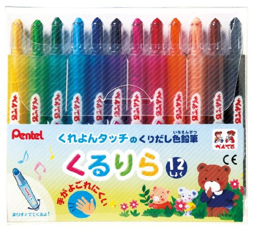ぺんてる 色鉛筆 くるりら GTW-12 12色セット