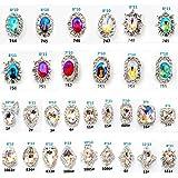 Niome 30PCS/2Packs 3D Luxury Clear Colored Shining Diamond Rhinestone Alloy Nail Art Decorations Charming Fashionable DIY Distinctive Nail Art Work