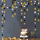 Glitter Gold and Black star Garlands kit for Party Decorations Silver Hanging Twinkle Bunting Banner/Streamers/Backdrop/Backg