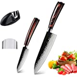 "AUSELECT Santoku Knife Set Handmade Forged Chef Knife Set 8"" & 5"" 2-Pack, Professional Kitchen Knife with German Sheath High"