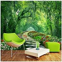 Mingld 森林公園緑の3D風景の背景の壁カスタム壁画緑の壁紙-400X280Cm