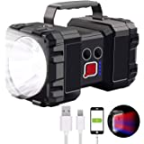 Rechargeable Spotlight Flashlight, 6000Lumen Super Bright LED Spotlight Flashlight Searchlight, 10000mAh 3+4 Lights Modes Tac