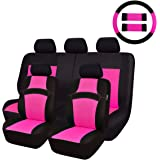 CAR PASS Rainbow Universal Fit Car Seat Cover -100% Breathable with 5mm Composite Sponge Inside,Airbag Compatible(14PCS, Rose