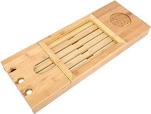 バスタブトレイ、竹製バストレイ伸縮式バスタブデスクテーブルバスタブキャディトレイ電話用ノートパソコンノートパソコンワイングラスキャンドル