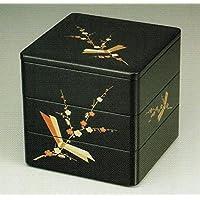 【木製漆塗り重箱】黒内朱 6寸5分 三段重 結び梅