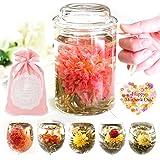 RIMTAE カーネーション 花 咲くお茶 工芸茶5種 と 茶こし付マグカップ いやしセット お茶と茶器