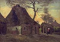 Van Gogh - ツリーコテージCottage with Tree 油絵 キャンバス 木枠なし 70X50 cm - 風景 絵画 複製画 印刷 美術品 壁掛け