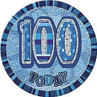 (Blue, Age 100) - Unique Party 15cm Glitz Blue Giant 100th Birthday Badge