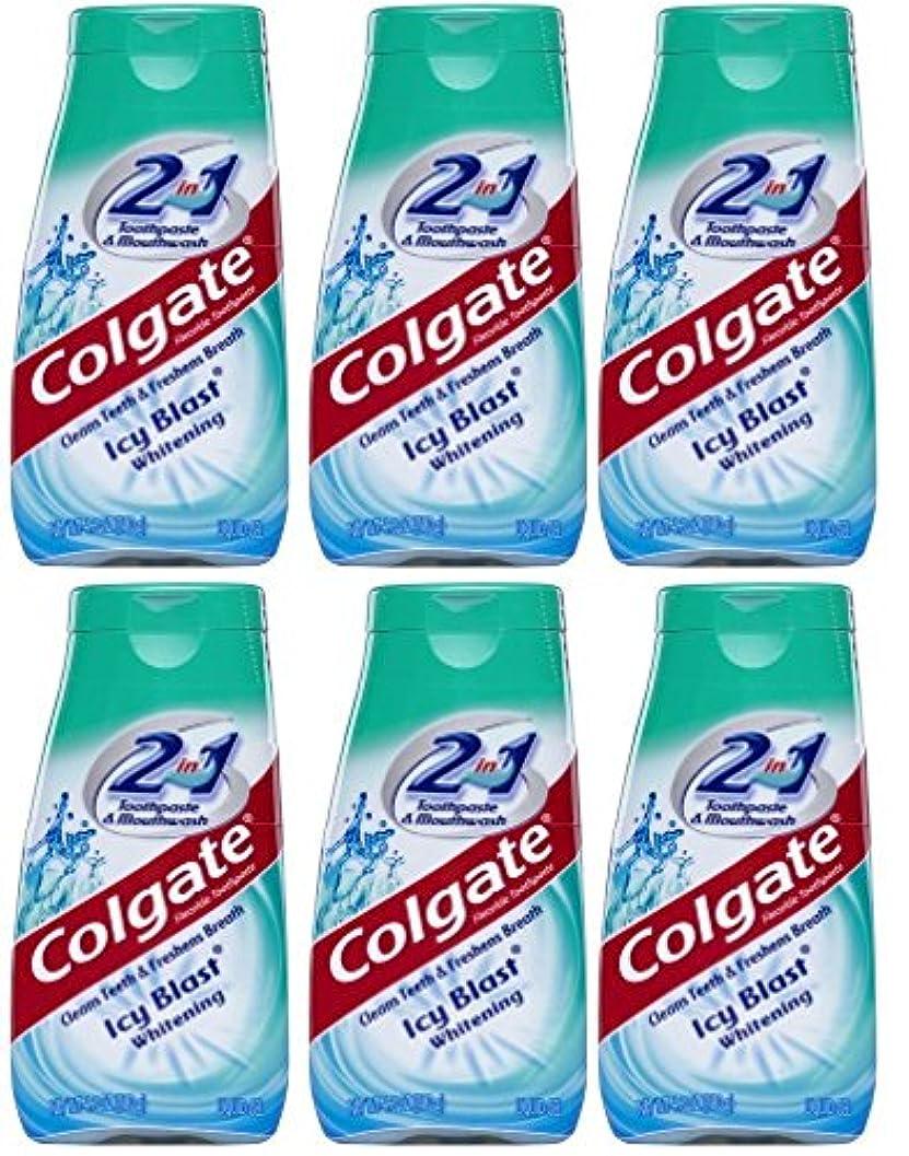 バスルーム複合交流するColgate 2-IN-1歯磨き粉およびマウスウォッシュ、美白アイシーブラスト、4.6オンスチューブ(6パック) 6パック