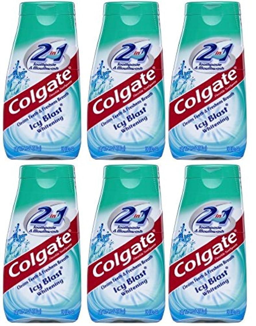 ダニアジア人愛情深いColgate 2-IN-1歯磨き粉およびマウスウォッシュ、美白アイシーブラスト、4.6オンスチューブ(6パック) 6パック