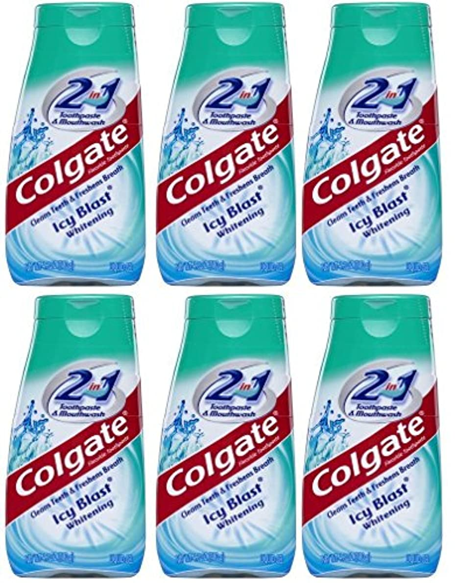 眠る上げる確実Colgate 2-IN-1歯磨き粉およびマウスウォッシュ、美白アイシーブラスト、4.6オンスチューブ(6パック) 6パック