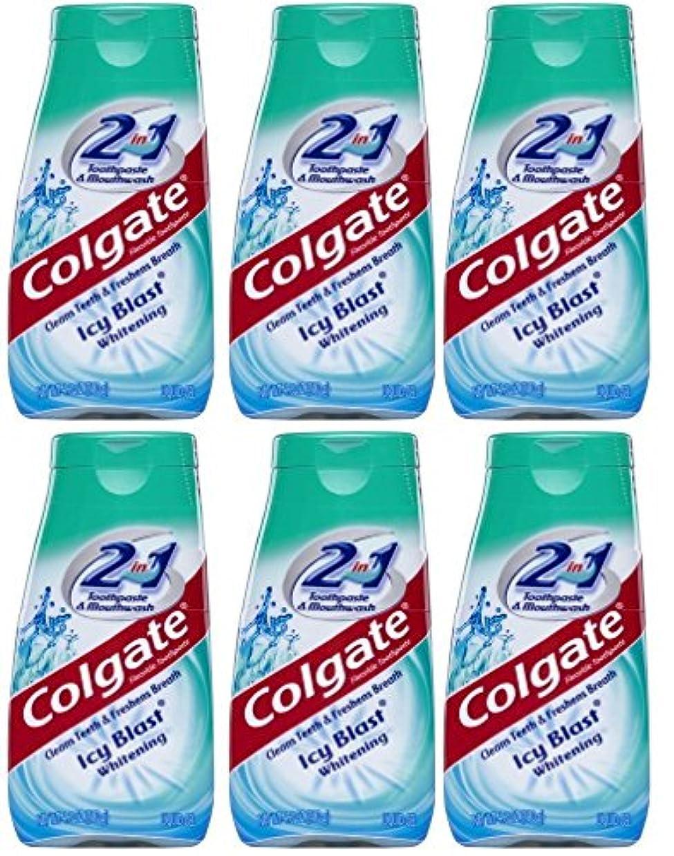 押し下げるリンス洗剤Colgate 2-IN-1歯磨き粉およびマウスウォッシュ、美白アイシーブラスト、4.6オンスチューブ(6パック) 6パック