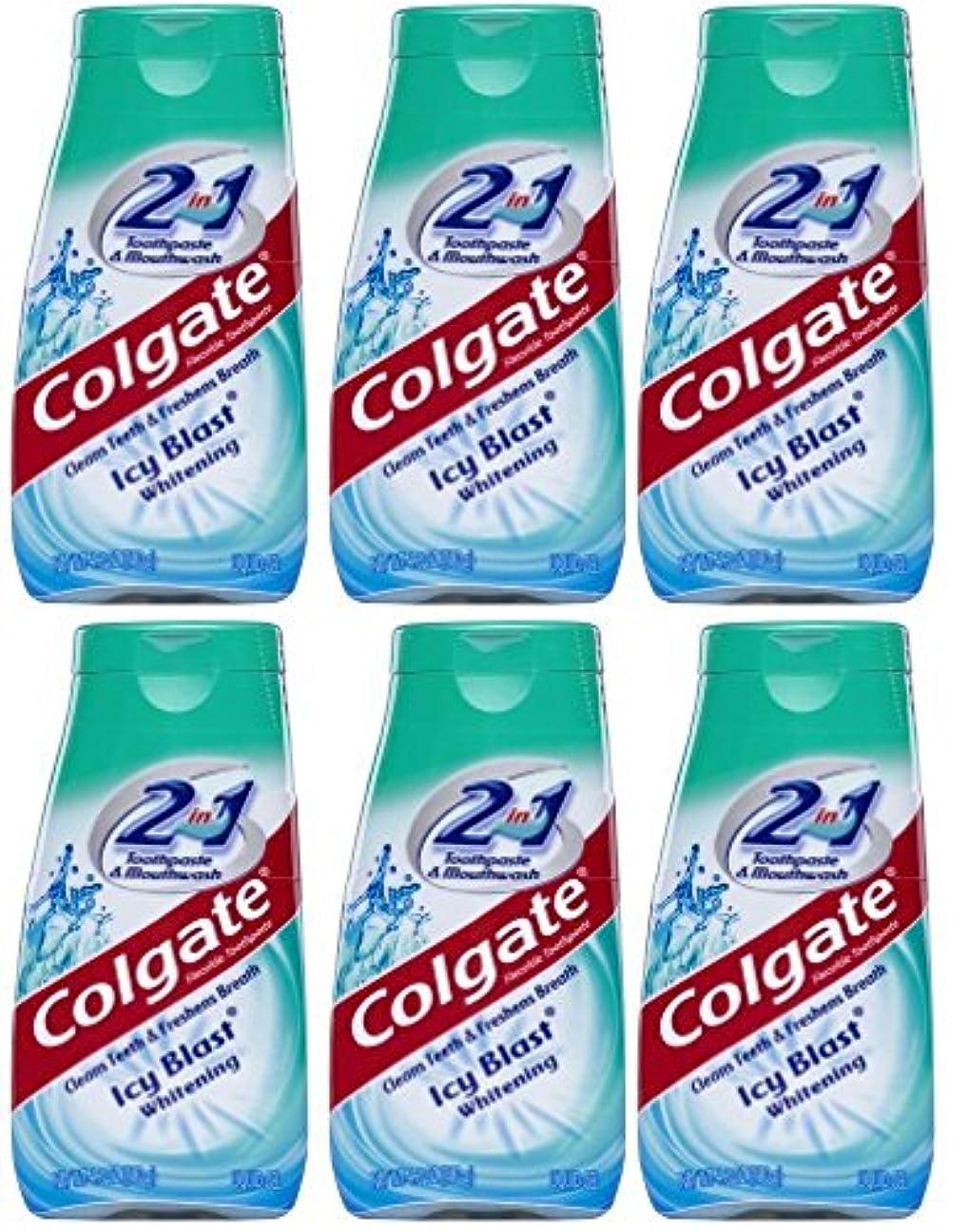 トリプルきょうだい大宇宙Colgate 2-IN-1歯磨き粉およびマウスウォッシュ、美白アイシーブラスト、4.6オンスチューブ(6パック) 6パック