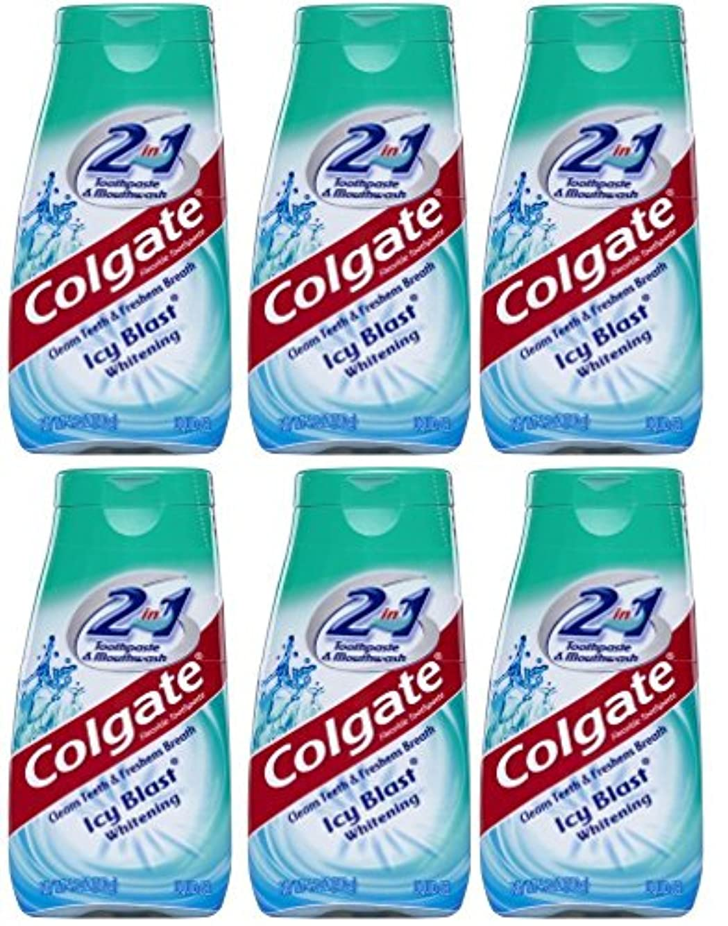 かもめ無効脇にColgate 2-IN-1歯磨き粉およびマウスウォッシュ、美白アイシーブラスト、4.6オンスチューブ(6パック) 6パック