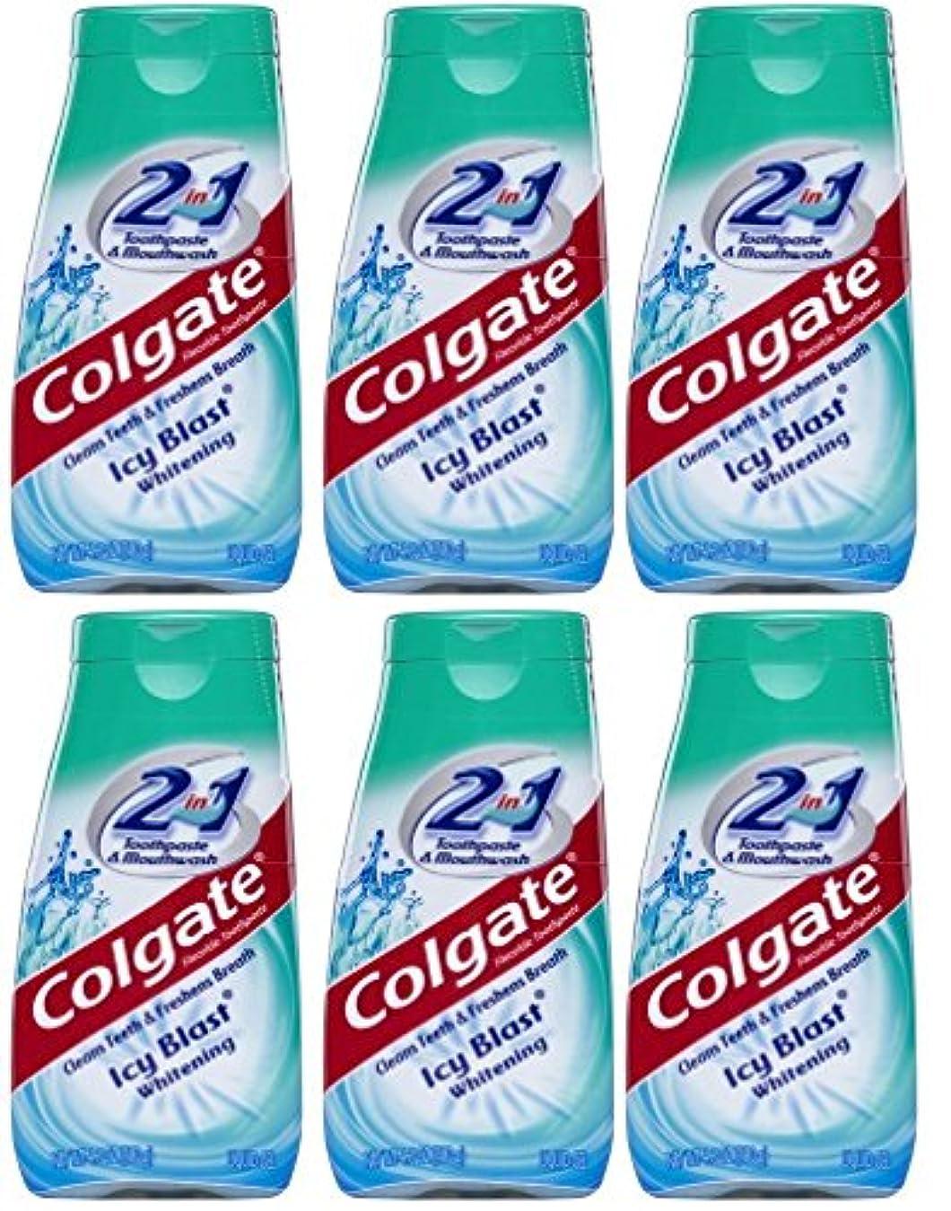 ほこりっぽいサービスドラムColgate 2-IN-1歯磨き粉およびマウスウォッシュ、美白アイシーブラスト、4.6オンスチューブ(6パック) 6パック