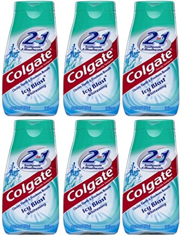 天皇けがをする独占Colgate 2-IN-1歯磨き粉およびマウスウォッシュ、美白アイシーブラスト、4.6オンスチューブ(6パック) 6パック